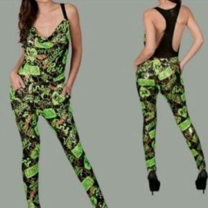Green army print jumpsuit